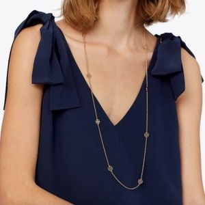 Tory Burch Delicate Gold Logo Rosary Necklace